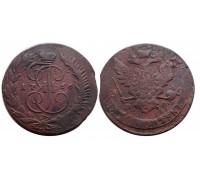 5 копеек 1766 ММ (перечекан)