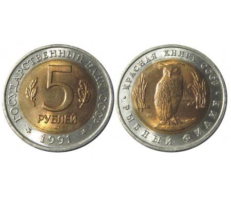 5 рублей 1991 (Рыбный филин)